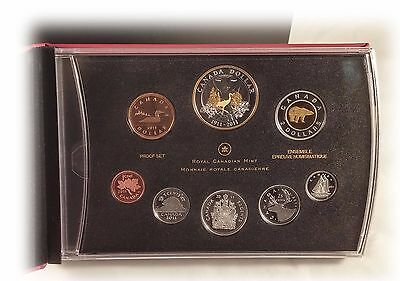 2011 CANADA PROOF SET WITH GOLD PLATED 100th ANN OF PARKS CANADA SILVER DOLLAR