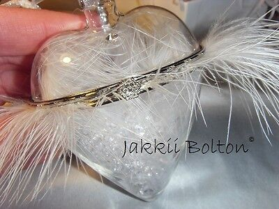 Hand Blown Glass Locket Heart With Feathers & Crystals ~ Angel Calling Wishing