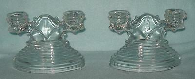 Anchor Hocking Manhattan Double Candle Holders Pair
