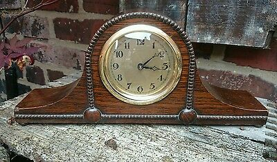 Antique Oak Cased Mantle Clock Gwo
