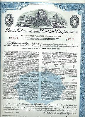 Ford International Capital stock certificate 1968 Henry Ford early automobile