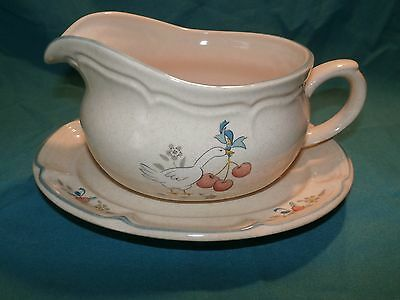 International China Marmalade Geese Gravy Boat w Underplate