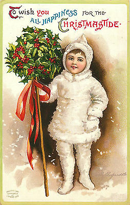 Clapsaddle Greeting, Christmas, Boy In White Suit, Vintage Postcard