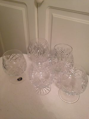 Five Cut Crystal Brandy Goblets - All Different And All Perfect