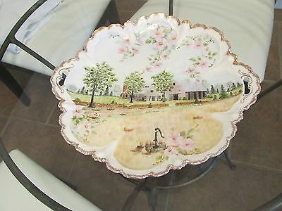 RS PRUSSIA Cake Plate Farm Scenery Gorges Roses Trees House & Barn Signed.