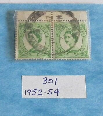 Postage Stamps Great Britain: Pair of Used 7p Emerald Queen Elizabeth Stamps
