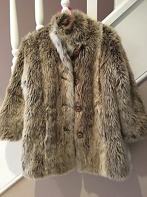Girls Age 5-6 Fur Coat