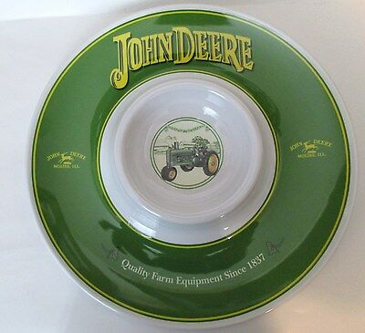 JOHN DEERE Snack Tray Chips & Dip Melamine Ware Farm Tractor AWESOME
