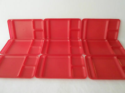 Tupperware Set of 9 Red Divided Trays Plates Camping Lunch Daycare Holiday