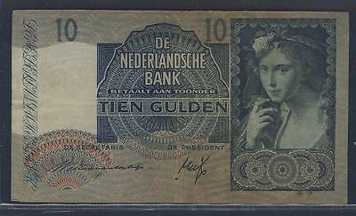 E21272 - NETHERLANDS - 1940 'GIRL w/ GRAPES / TRIP' 10 GULDEN CURRENCY VERY FINE
