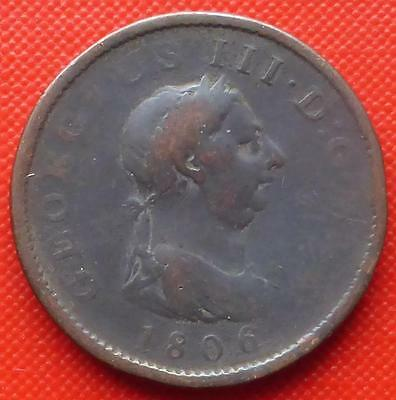 An 1806 King George Iii Gb One Penny Coin.