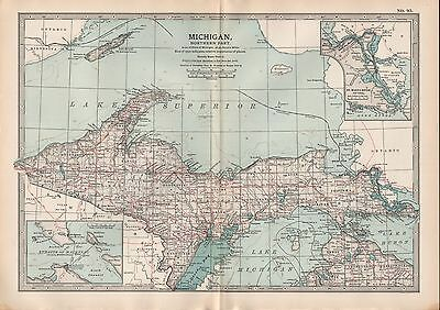 1903 Britannica Antique Map Usa Michigan Northern Part Mackinac St Mary's River