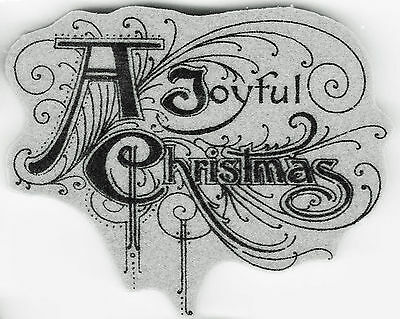 Tim Holtz red rubber cling stamp 'A Joyful Christmas scroll' christmas large NEW