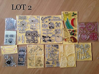 """Joblot 2 Clear Christmas Stamps """"REDUCED"""""""