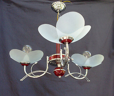 20% OFF Vtg Italian Chandelier, Iron and Glass Flowers, Chrome,Shiny, 3 Bulbs