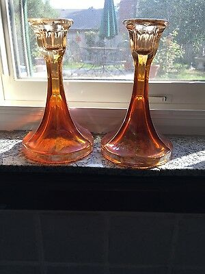 Pair of Marigold Carnival Glass Candle Sticks