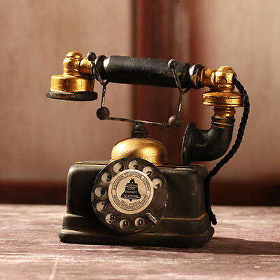 Vintage Rotary Telephone Statue Antique Shabby Chic Old Phone Figurine Decor @