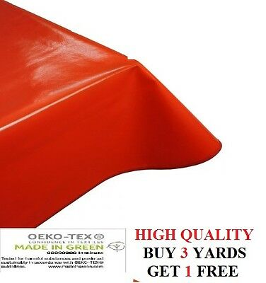 Plain Red Tablecloth Easy Wipe/Clean Vinyl Oil Cloth PVC Fabric Material