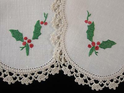 Pair Vintage Doilies Christmas Holly Hand Embroidered Linen