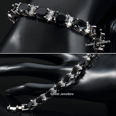 Silver & Black Crystal Diamonds Tennis Bracelet Bridal Xmas Gift For Her Women A