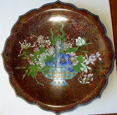 """8"""" Thousand Flowers And Flower Basket Cloisonné  Plate"""