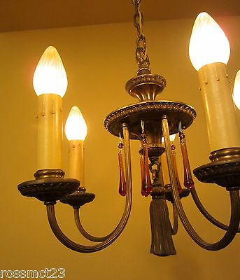 Vintage Lighting quality 1920s brass chandelier
