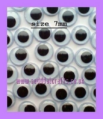 GOOGLY EYES EMBELLISHMENTS - 50 PIECES, CARD MAKING 7mm
