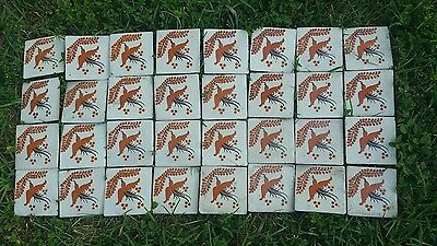 24 Vtg Lot Decorative Tile Mexico Ceramic Terracotta bird Unmarked pottery 4.5""