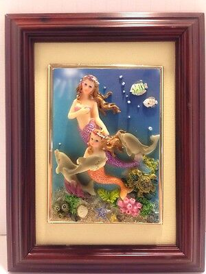 NIB Mermaids Dolphins Under The Sea Framed Picture, 3-D Wall Art Decor Sculpture