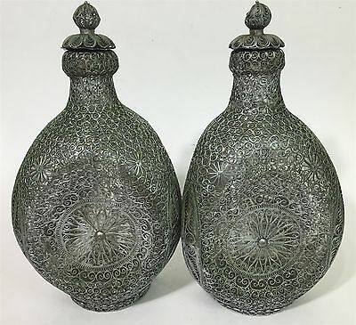 RARE Pair Haig Whiskey Pinch Bottle Ornate Silver Tone Filigree Liquor Decanters