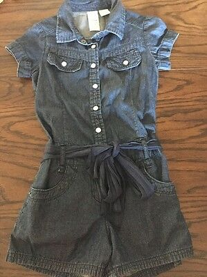 Guess Logo Girls Denim Blue Belted Low waisted Shorts Romper Sz 7- Perfect