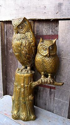 Lge Vintage Mid Century Brass Mama & Baby Owl On Tree Stump Home & Garden Statue
