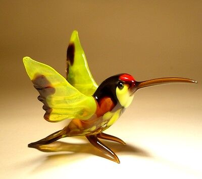 "Blown Glass ""Murano"" Art Yellow and Black HUMMINGBIRD Bird w/ Red Head Figurine"