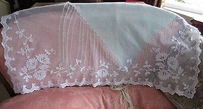 Antique Tambour Net Lace White Table Runner Dresser Scarf