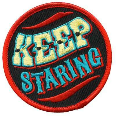 Sourpuss Keep Staring Iron On Patch Pin Up Punk Rockabilly Retro Embroidered