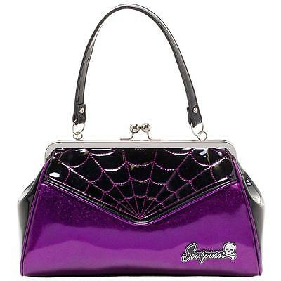 Sourpuss Spiderweb Purple Backseat Handbag Retro Rockabilly Vintage Punk Bag
