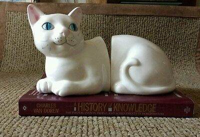 Bookends Cat Head and Tail Ends White - Sand Weighted Kitty Front and Back Half
