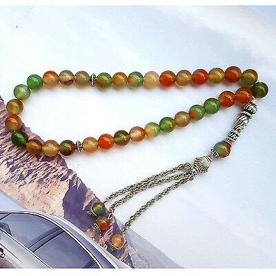 Natural Colorful Agate 33 Rosary bead Islamic Muslim Tasbih Misbaha prayer beads