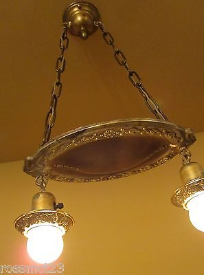 Vintage Lighting matched pair 1920s pan pendants new wiring