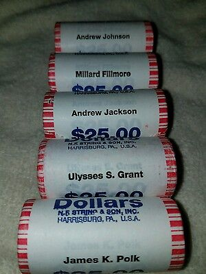 5 DIFFERENT UNC President Gold Dollar Rolls