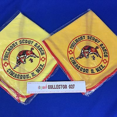 Boy Scout Neckerchiefs  2 Philmont Scout Ranch  1-Yellow 1-Gold Both New In Bag