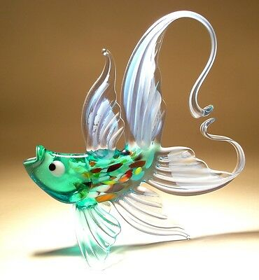 Blown Glass Figurine Art Light Blue and Aqua FISH with an Arched Tail
