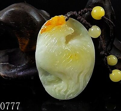 100% Natural Hand-carved Chinese Jade Pendant jadeite Necklace rooster 0777