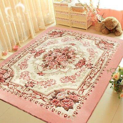"""Romantic Pink Rose Rug For Living Room,American Country Style Bedroom Rug 79*98"""""""