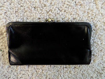 Vintage St Thomas, Saratoga Trio Black Leather Clutch Wallet, kiss clasp