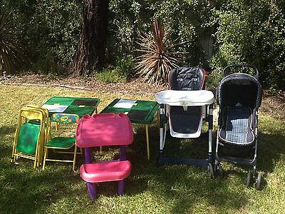 Kids table, high chair, stroller and desk