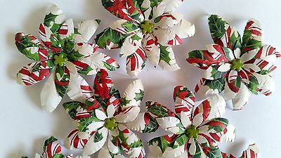 10 x Handmade Christmas Paper Flowers  Mix #7 - Perfect for Scrapbooking, Cards