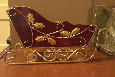 Red Metal Sleigh With Gold Colored Metal Clear Glass Floor Christmas Decor