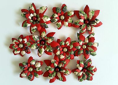 10 x Handmade Christmas Paper Flowers  Mix #5 - Perfect for Scrapbooking, Cards