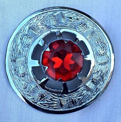 "Fly Plaid Brooch Red Stone Chrome  Finish 3""/Scottish Brooch & Pins"